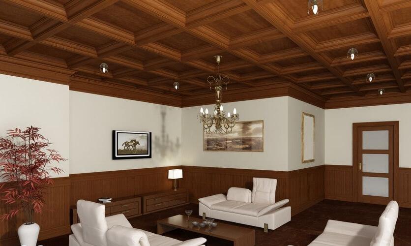 применение дерева на потолке