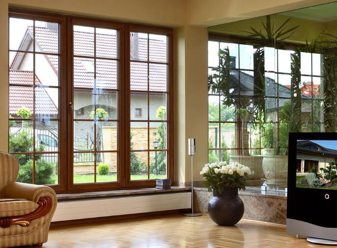 французское остекление деревянные окнами